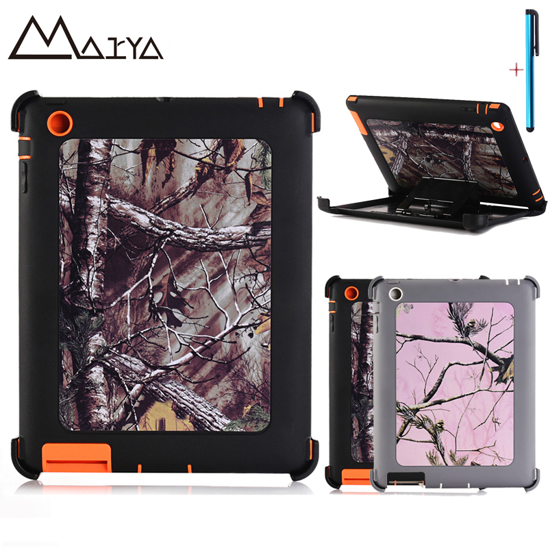 Hybrid TPU+PC Cover For ipad 2 3 4 Case TPU + PC Stand Tablet Shell Neutral camouflage Dazzle Shockproof KickStand For 9.7 inch