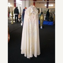 Arabic Formal Dress Long Robe Embroidery Satin Jacket Elegant Ivory Islamic Hijab Evening Dresses