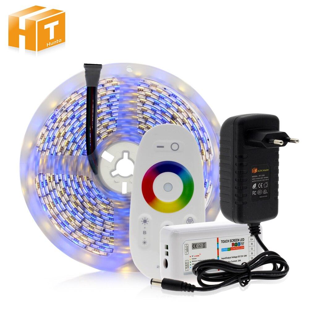 Tira de 5050 LED RGB/RGBW/RGBWW 5 M 300 LEDs Luz de cinta de neón + mando a distancia de 2,4g + adaptador de corriente DC 12 V 3A
