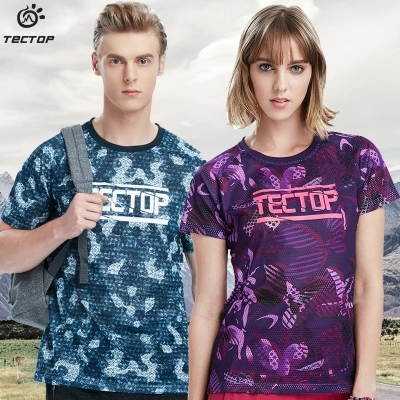 Wrench Tectop Outdoor Men Women Camouflage Printing Light Thin Short Sleeve T-shirts Breathable Quick-drying Camping Running T-shirts Drip-Dry
