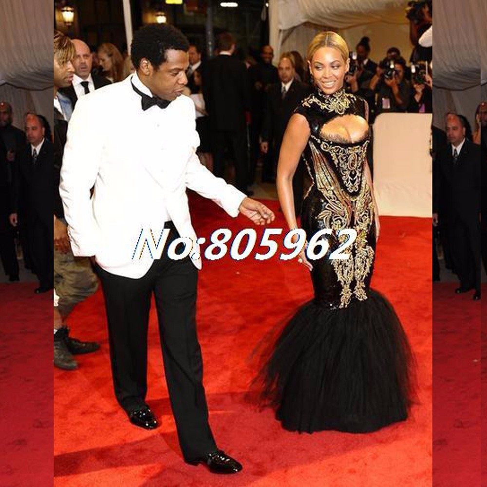 Custom-made-2014-Hot-Sexy-Beyonce-MET-Gala-Black-And-Gold-Embroidery-Beaded-Mermaid-Celebrity-Dresses