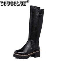 Yougolun/Для женщин сапоги до колена Новинка 2017 года Зима Пояса из натуральной кожи черный Заклёпки обувь на платформе квадратный каблук 5 см Каблучки # Y-186