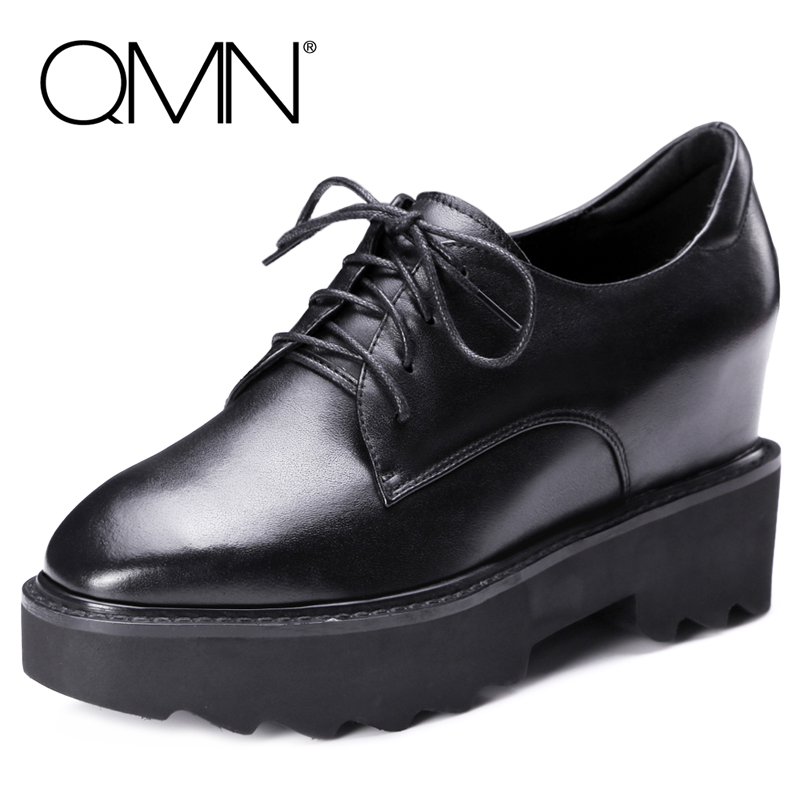 QMN women genuine leather platform flats Women Brushed Leather Height Increasing Brogue Shoes Woman Square Toe Creepers 34-42 qmn women brushed leather platform brogue shoes women round toe lace up oxfords flat casual shoes woman genuine leather flats
