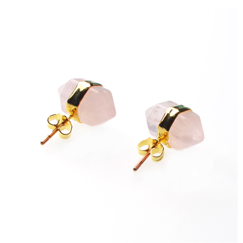 beads natural color gold stone polished multi stud round fashion earrings druzy product kind jewelry