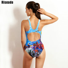 Riseado 2018 One Piece Swimsuit Sports Competition Swimwear Women Printed Backless Swimming Suit Summer Bathing Suits