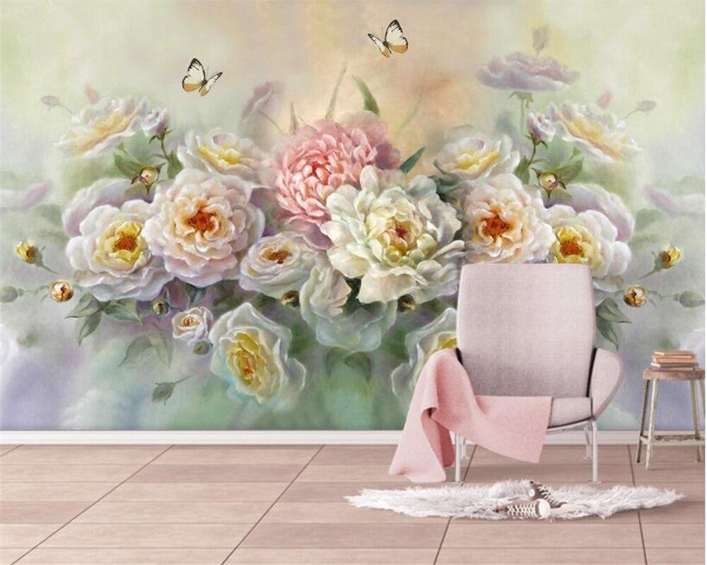 beibehang Custom photo wallpaper mural European hand painted rose flower butterfly TV sofa background wall 3d wallpaper behang