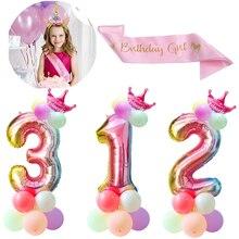 Cyuan 32inch Pink Number Balloon Set Digital Foil Balloons Birthday Party Decorations Kids Boy Girl Balls 0123456789