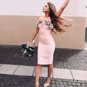 Image 4 - Adyce 2020 nuevo verano mujer rosa Floral vendaje vestido Vestidos de fiesta, de noche, de celebridad volantes Spaghetti Strap Club Dress