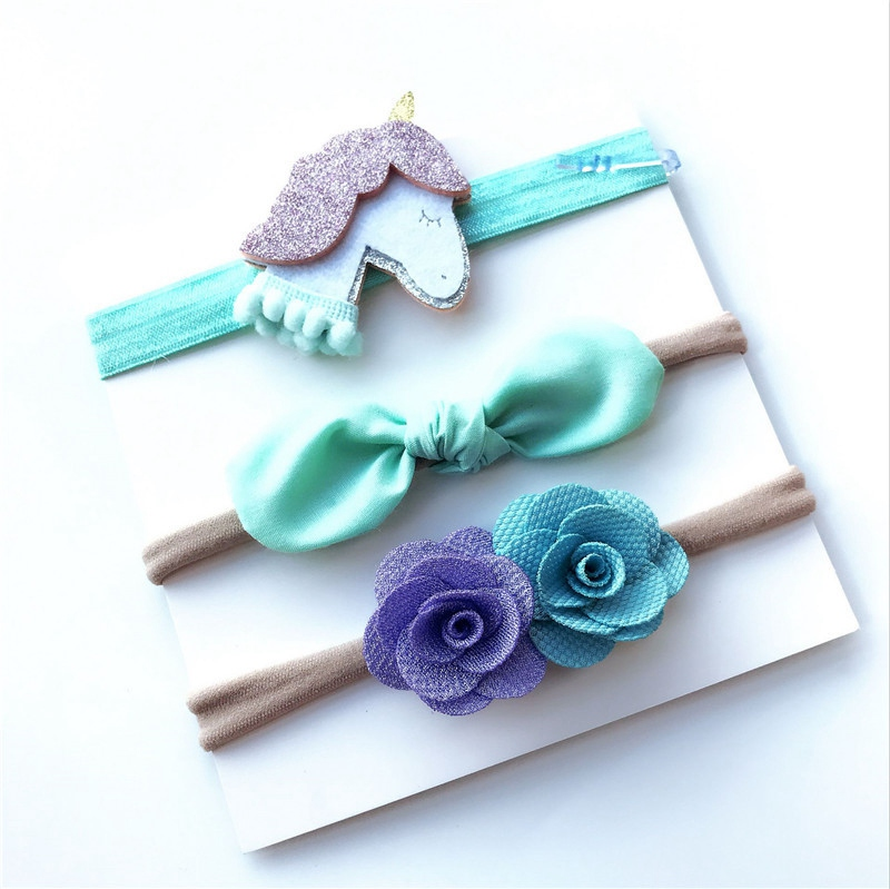 3Pcs Kids Elastic flower headband Headbands Hair Girls baby Bowknot Hairband baby girl accessories set photography retail triple satin flower rosettes feather baby headband vintage burlap lace hairband kidocheese