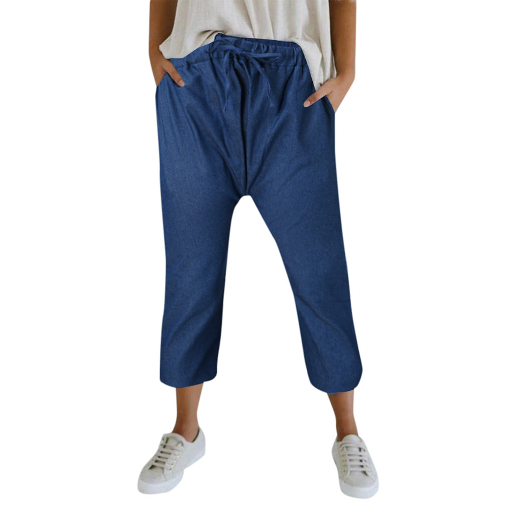 3w#Summer Pants Women Solid Loose Jeans Hot Pants Workout Waistband Beach Pants Woman'S Jeans  Femme Pantalones Vaqueros Mujer