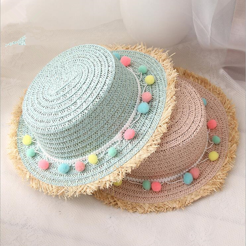 2018 New Child Sun Hats Summer Color Ball Bowknot Style Kids Sun Hat Girl Floppy Wide Brim Beach Cap Flower Straw Hats