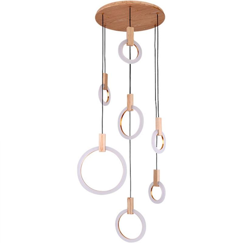 Modern Pendant light Ring Wood Lamp Suspension luminaire for Industrial Decor home Light fixtures