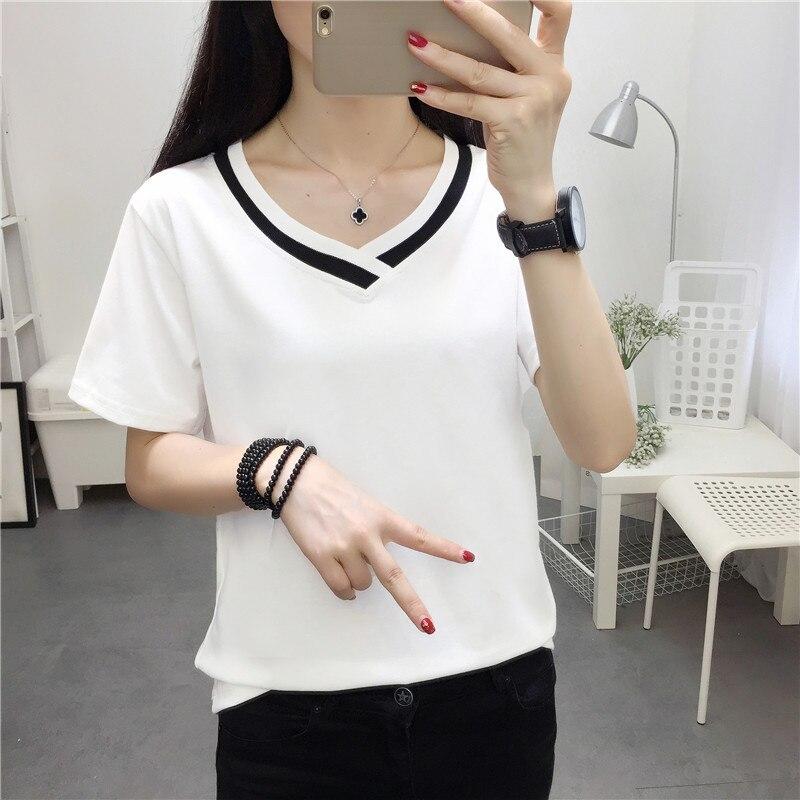 4XL 5XL Plus Size Korean Women's Clothing Fashion Big Size T-shirt Female V neck Short Sleeve Casual obesity Tee Shirt Top Femme 4