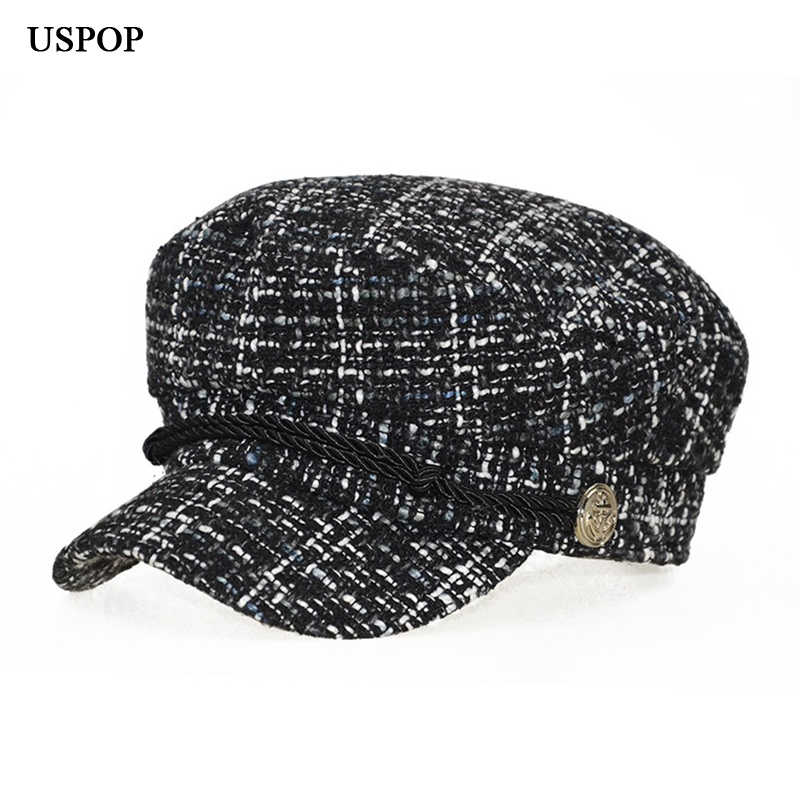 USPOP 2019 Hot women plaid newsboy caps retro octagonal hat fashion femaleAutumn hat flat top tweed visor caps
