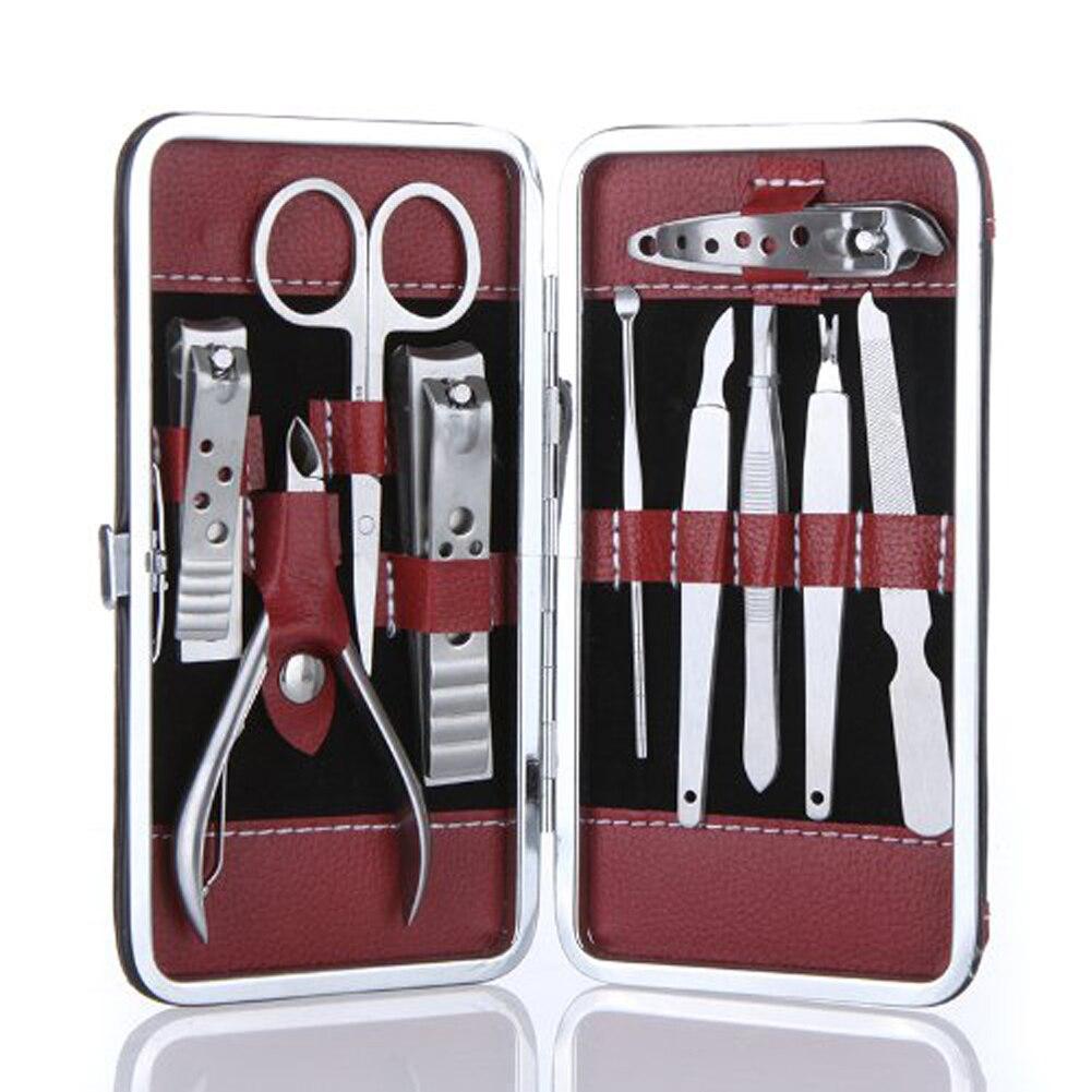 10 pz/set per manicure In Acciaio Inox Tagliaunghie nail kit di estensione Nail Care Pedicure Scissor Pinzette Ear Raccogliere Manicure Set