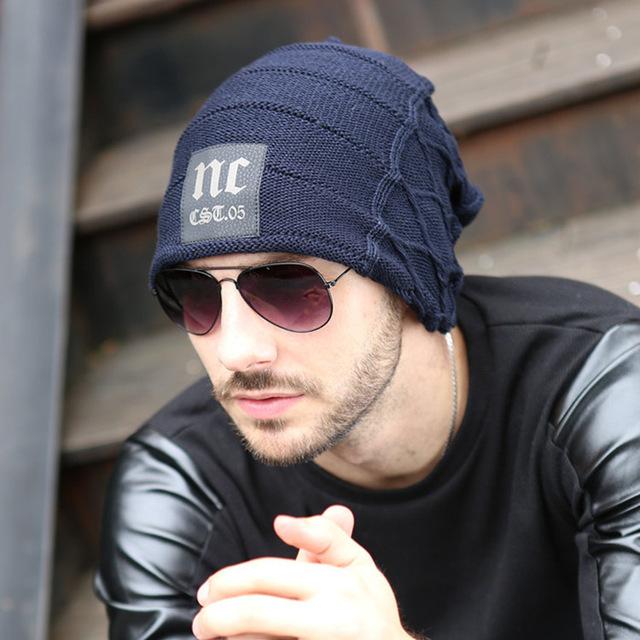 2016 nc gorros de punto de hombre de sombreros de invierno Skullies capó gorros hombre para hombres mujeres Beanie exterior deportes caliente Baggy Cap 5 colores