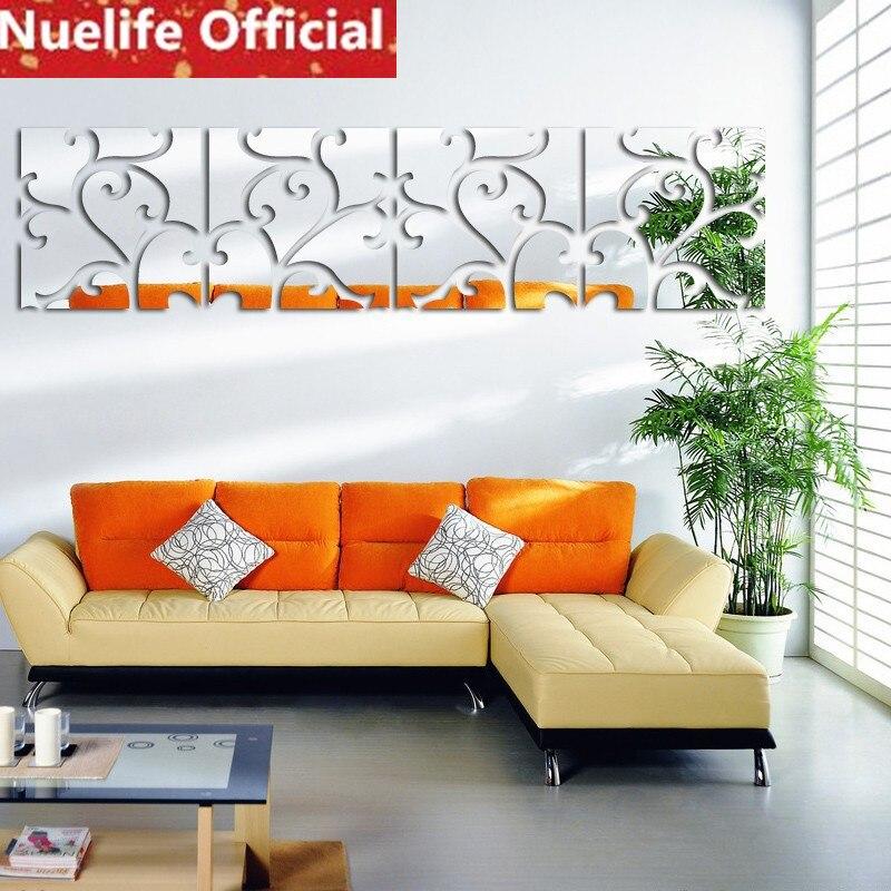 Creative rotin motif conception acrylique miroir autocollants salon chambre porche TV canapé fond décoration stickers muraux