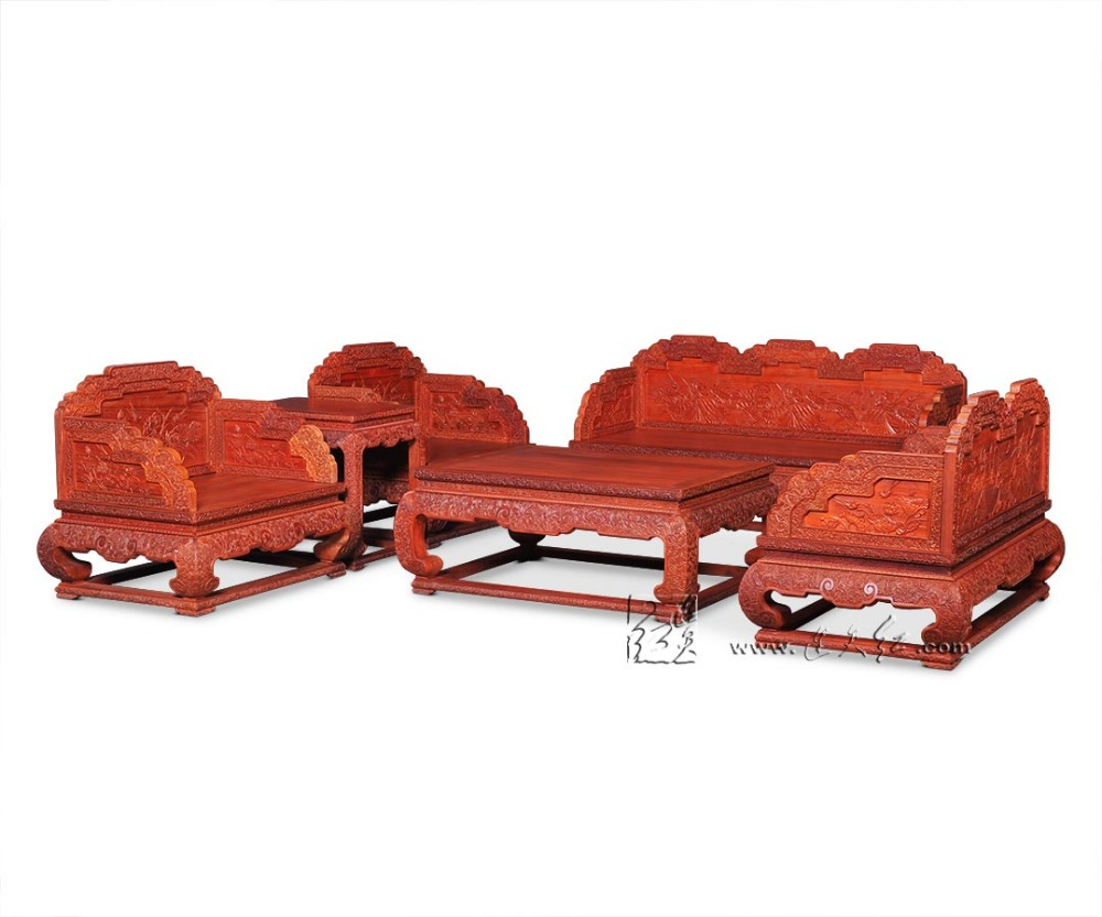 6-Pieces Sofa bed Set 1+2+3 Seats Living Room Divan Furniture Suit Rosewood Office Lobby Chair Chinese Style Modern Solid Wooden 8 pieces sofa bed furniture set 1 2 3 seats chair suit chinese royal rosewood triple armchair red sandalwood small low table set