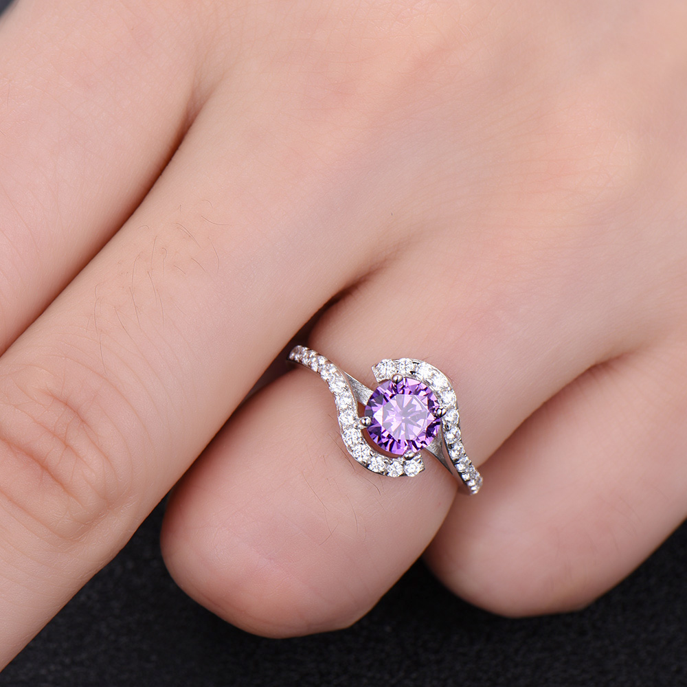 Aliexpress.com : Buy Amethyst Engagement Ring Solid 14k White Yellow ...
