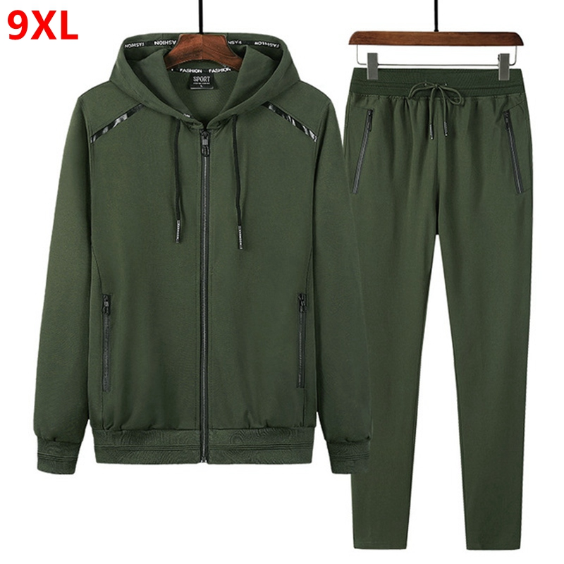 Spring and Autumn Sports Suit Plus size Trade Sportswear Men's Running Long Sleeve Men's Sets 9XL 8XL 7XL-in Men's Sets from Men's Clothing
