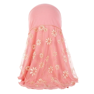 Image 2 - Children Kids Muslim Small Girl Hijab With Lace Flower Pattern Islamic Scarf Shawls Stretch 56cm 7 11 Years Old