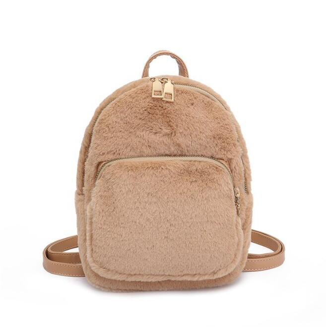 Backpacks Apprehensive Fashion New Rabbit Fur Plush Backpack Fashion Cute Small Backpack Ladies Shoulder Bags For Women Winter Mini Backpack M-1375 Women's Bags