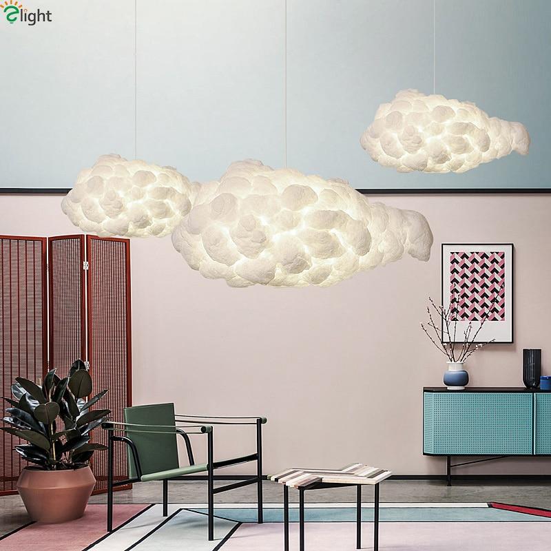 Moderno nube flotante Led colgante luces comedor de seda blanco Led ...