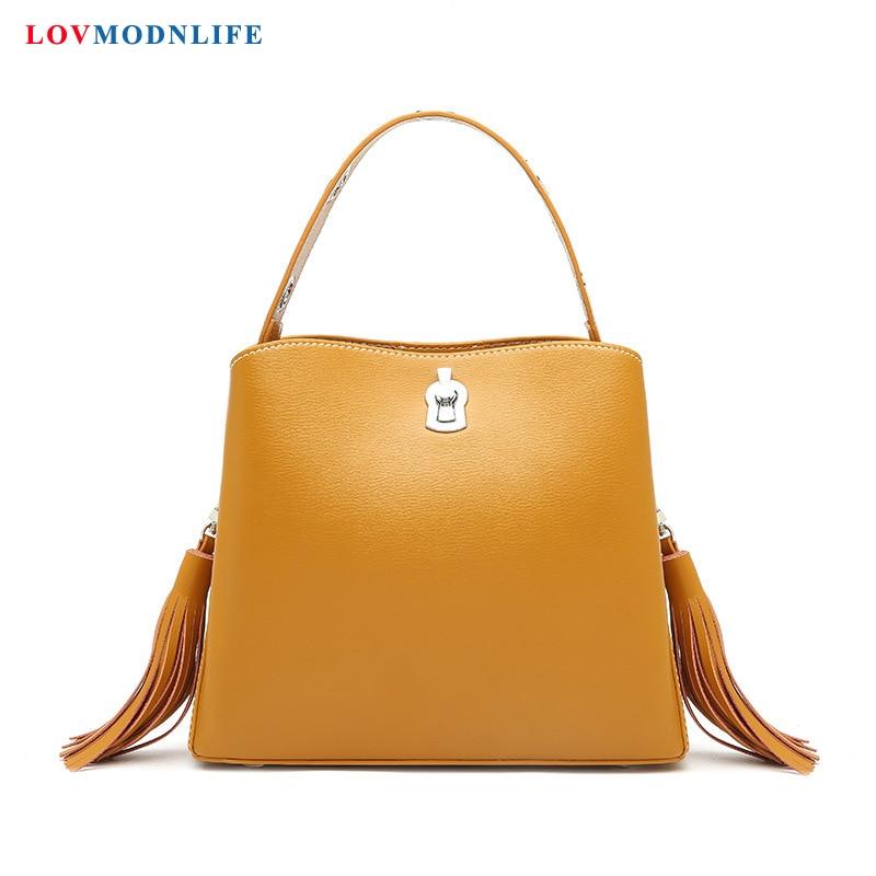 Luxury Women Leather Handbags Shoulder Crossbody Bag Black Designer Woman Tote Bucket Bags Yellow Ladies Hand Bags 2019 Summer in Shoulder Bags from Luggage Bags