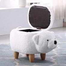 Творческий Медведь твердой древесины обувь скамейка диван табурет дома для хранения, пуф мебель для детей