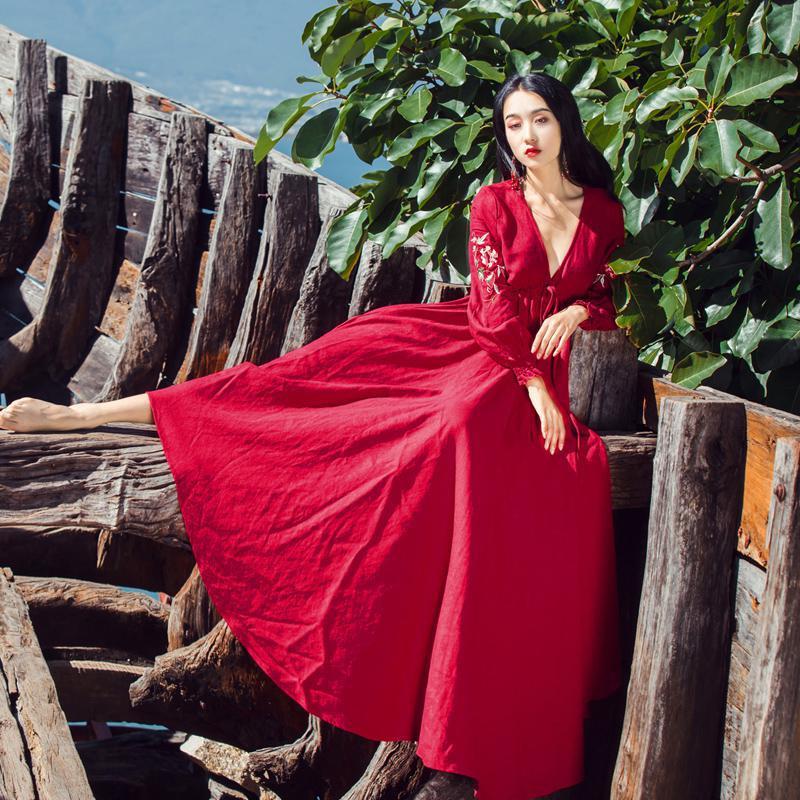 Retro Di Vintage Manicotto Nuove Ricamo Rosso Donne Vestito Lanterna Fiore Nazionale Lungo Della Boemia Femminile Vento Stampa Autunno Vestiti Del Primavera OqOtE
