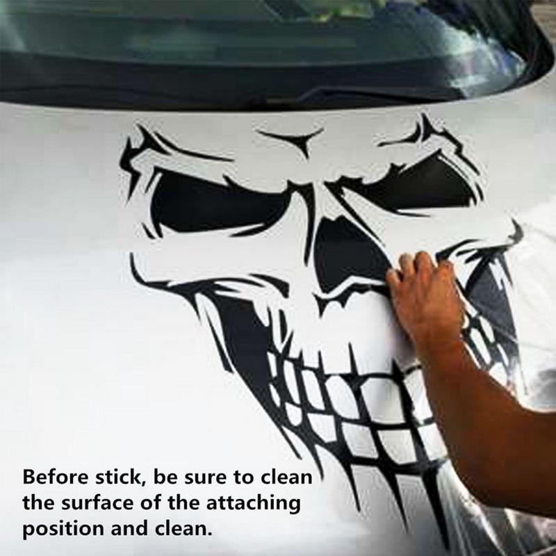 1 PC Big Size 40x36CM Skull Head car sticker Reflective Vinyl Car Styling Car-covers Engine hood door window truck Car sticker (5)