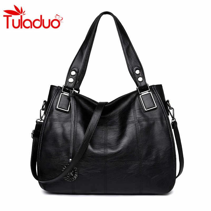 Women Soft Leather Handbags Female Casual Thread Shoulder Bags Portable Ladies  Shoulder Bag Women s Messenger Bag 07b5b83324
