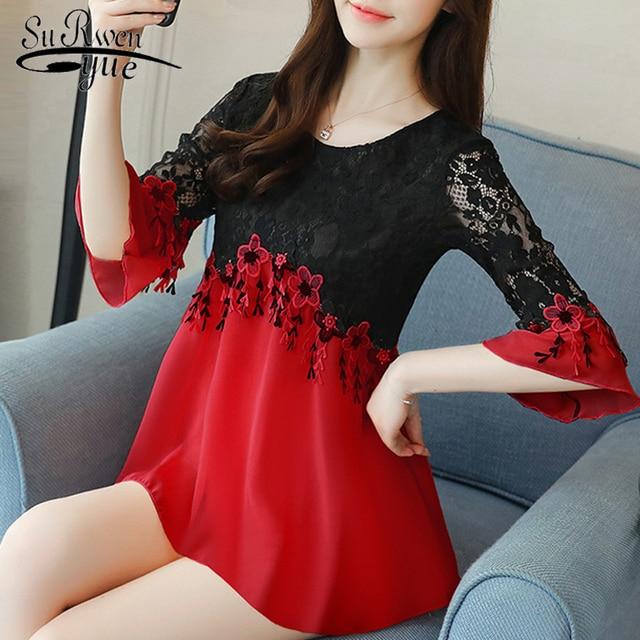 Plus size 3XL 4XL 5XL chiffon women blouse shirt Fashion woman blouses 2019  hollow out lace shirt women blusa feminina D583 40