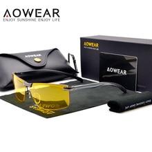 AOWEAR HD очки ночного видения для ночного вождения, защитные очки для вождения автомобиля, антибликовые желтые солнцезащитные очки, мужские поляризованные очки