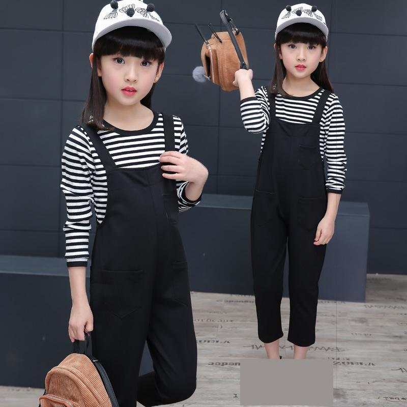 цены New Fashion Children Clothing Girls Set Kids Clothes Girl Clothing Spring 2018 Suits Toddler Striped T-shirts + Overalls Outwear