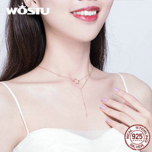 Image 5 - WOSTU otantik 925 ayar gümüş geometri kolye sıcak moda basit ve sevimli daire ayarlanabilir kolye kadınlar için CTN078
