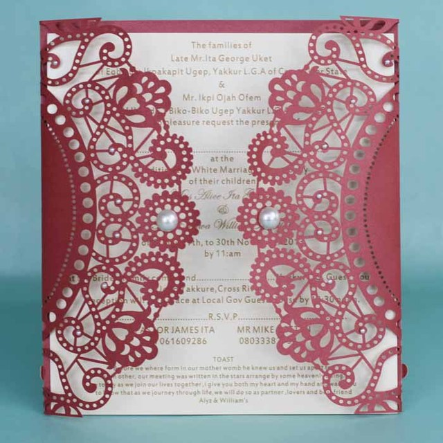 Dark Red Burgundy Wedding Invitation Card Laser Cut With Envelope E442 Aliexpress Mobile