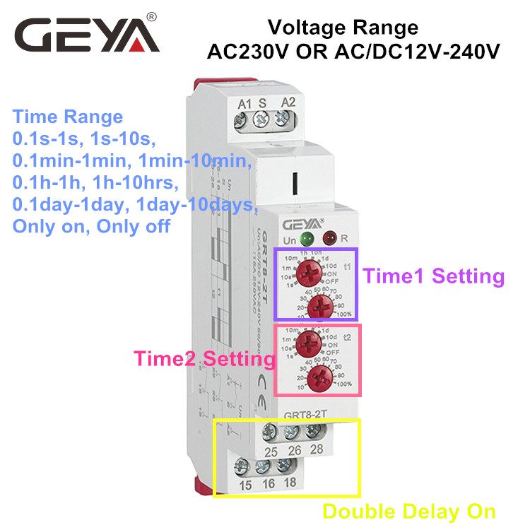10PCS Free Shipping GEYA GRT8-2T Double Delay on Timer Relay AC230V OR AC/DC12V-240V DPDT Relay Din Rail Type Time Delay Relay