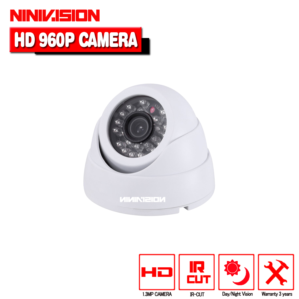 White Dome1.3MP CMOS 2500TVL CCTV Security HD AHD Camera 3.6mm Lens IR-CUT 24 IR Leds Night Vision Indoor Outdoor Camera hd 1200tvl cmos ir camera dome infrared plastic indoor ir dome cctv camera night vision ir cut analog camera security video cam