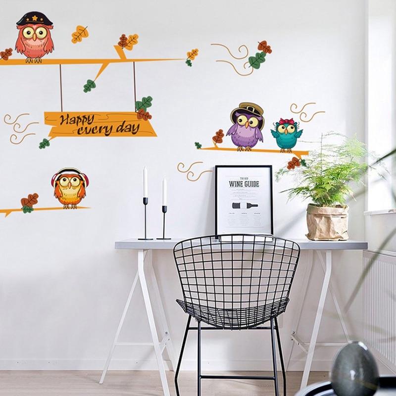 Cartoon Owl Wall Sticker For Children's Wallpaper Wall