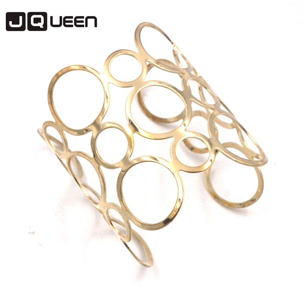Мода 2017 г. Панк золото Цвет Piered широкий браслет Геометрия Пирсинг Hollow манжеты Браслеты подарок Для женщин регулируемые браслеты