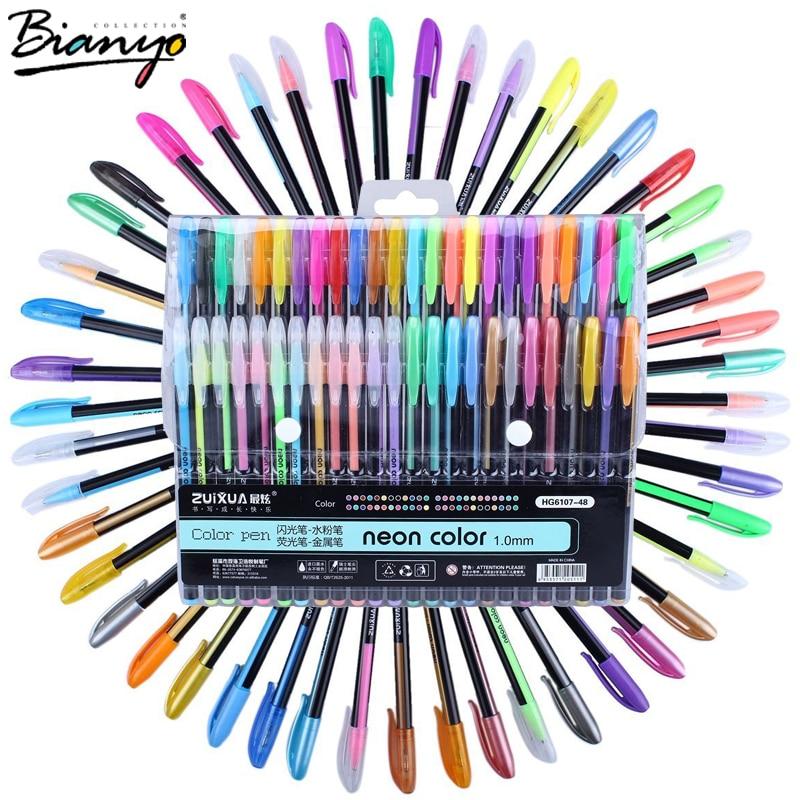 Bianyo 48pcs gel pen set refills metallic pastel neon glitter sketch drawing color pen school stationery
