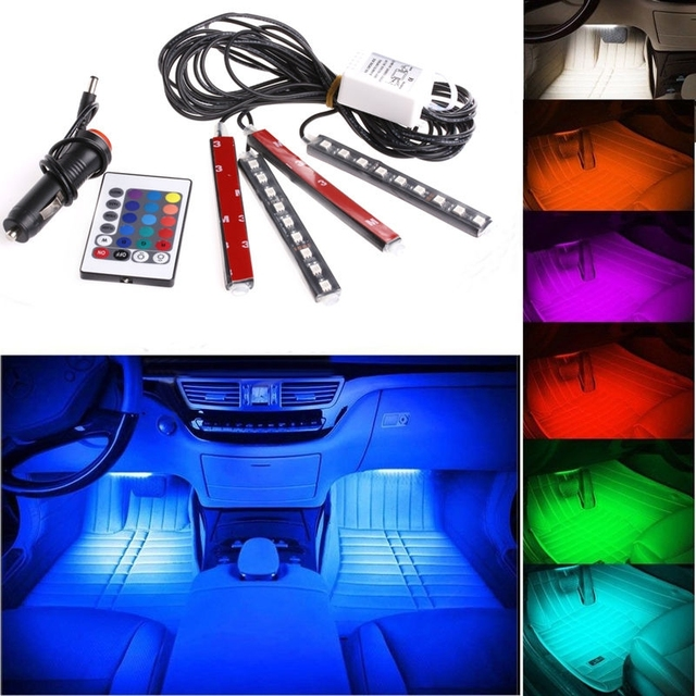4pcs Car Light 12V 9 Led Car Interior Lighting Decorative Remote Control LED Strip Lights Atmosphere Lamp Long Life time 50000H