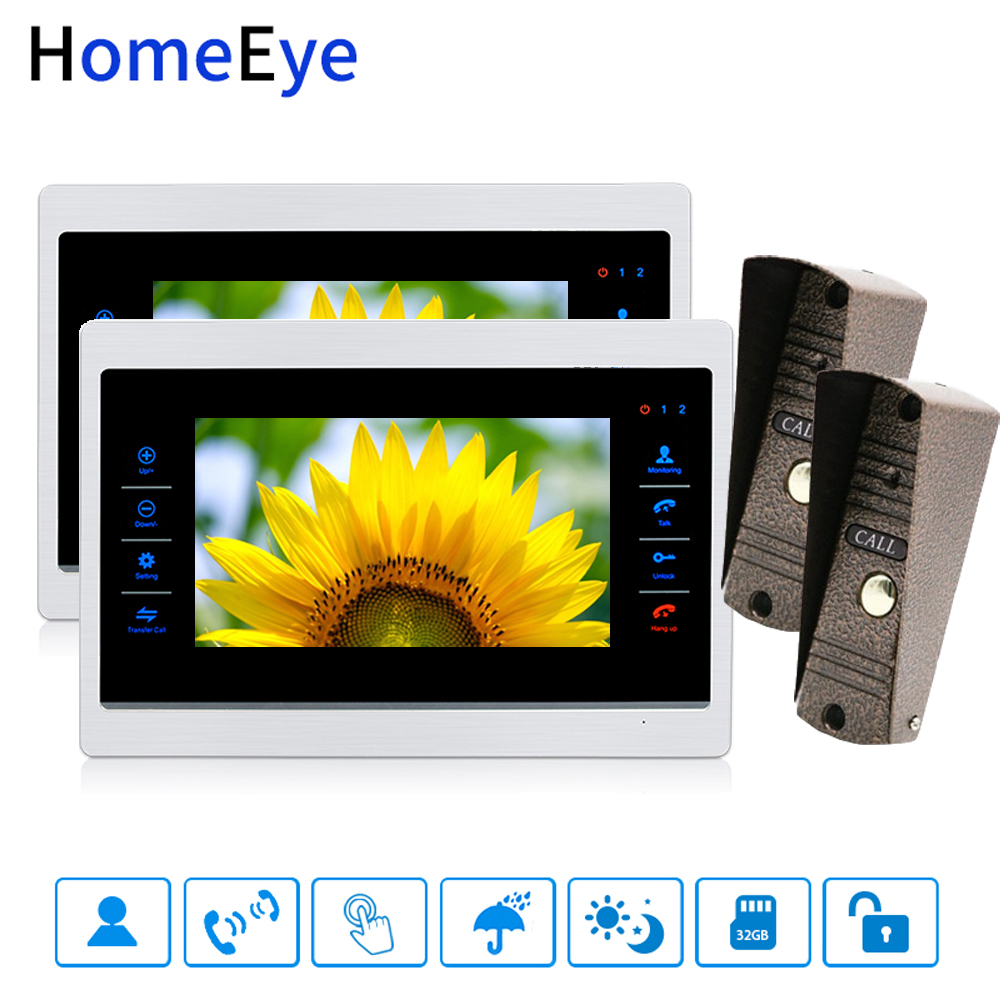 7'' Video Doorbell Video Door Phone Intercom Motion Detection Voice Message Spanish OSD Menu Touch Button Video Record Unlocking