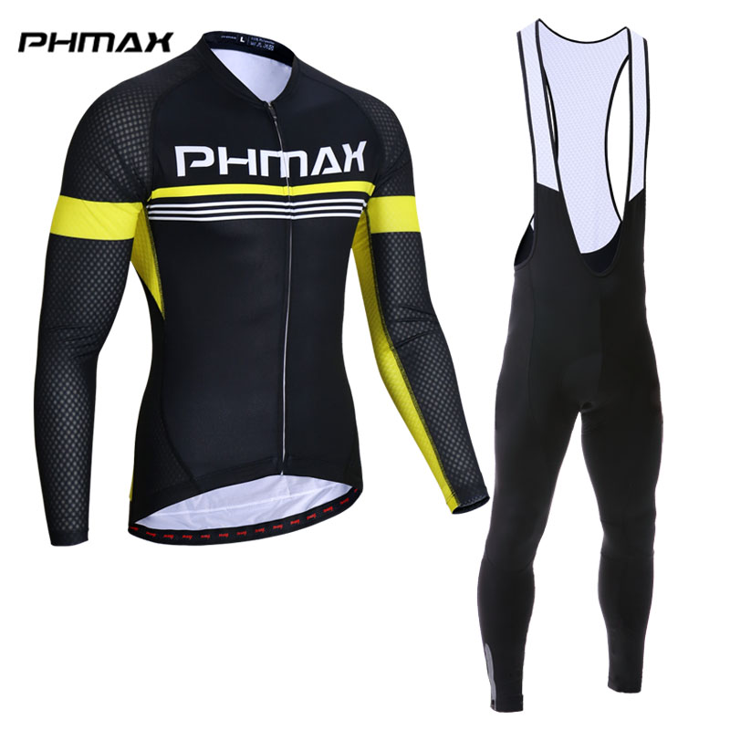 PHMAX Long Sleeve Cycling Jersey Set Top Quality MTB Bicycle Clothing Racing Bike Wear Clothes Maillot Ropa Ciclismo Cycling Set