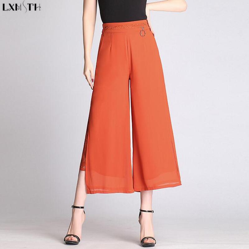 LXMSTH High Waist Wide leg Pants Women Spring Summer 2019 Loose Casual Ankle Length Lace Patchwork Womens Pants Chiffon Big Size