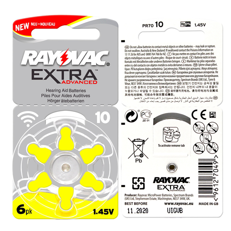 60 PCS RAYOVAC EXTRA Zinc Air Performance Hearing Aid Batteries A10 10A 10 PR70 Hearing Aid Battery A10 Free Shipping-in Ear Care from Beauty & Health