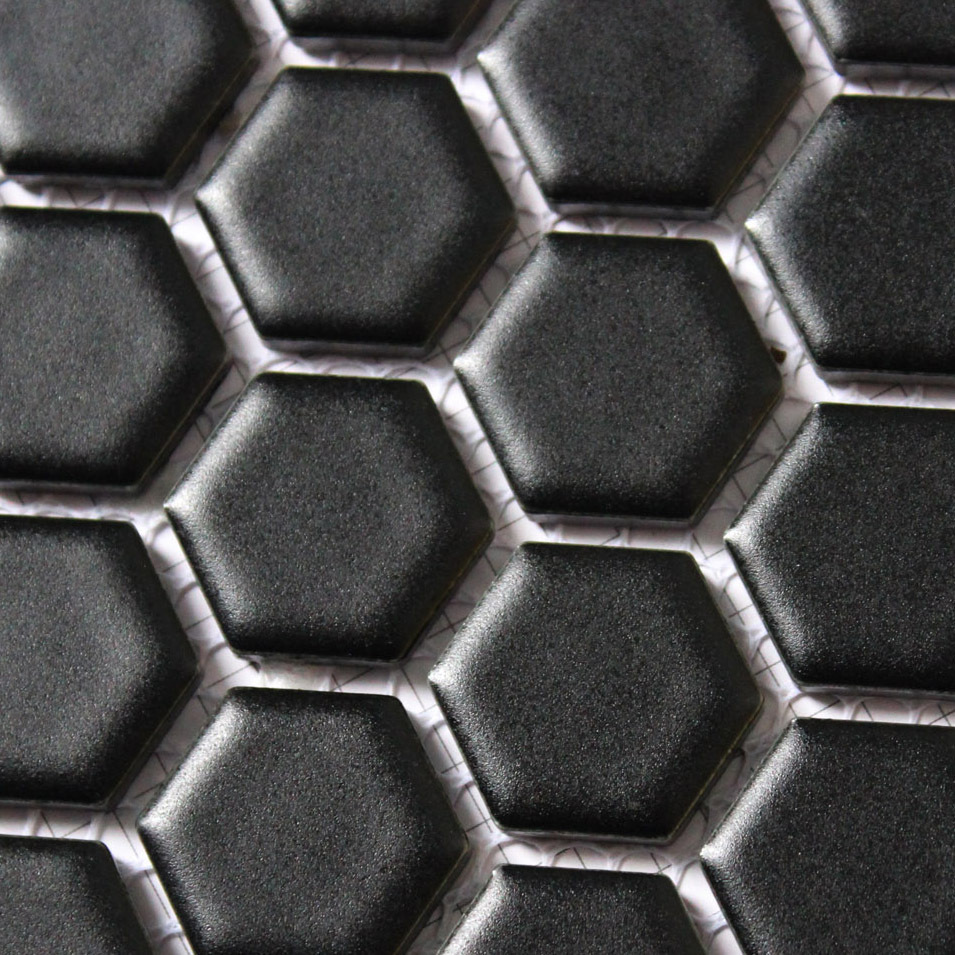 Ceramic Mosaics Tile Black Hexagon Glazed Matte Bathroom