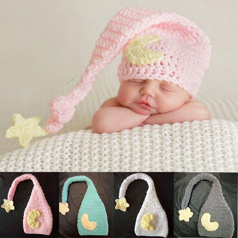 e36d3095d Gorros de ganchillo para bebé con accesorios de foto tejido a mano estrella  para recién nacidos