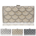 Women messenger chain shoulder bags beaded diamonds clutches handbags silver/black/gold evening bags imitation pearl wedding bag
